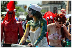 Cute Sailor (Alexxir) Tags: new york blue gay red white black color green hat sunglasses june hair island photography big women long paint day dress purple dancing body lace top jewelry sneakers parade transgender lgbt topless bracelet anchor huge devil bead spike shorts homosexual sailor mermaid coney lesbians cleavage 18 raven pasties transsexual 2016 seashellbra