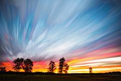 Smoking Embers (Matt Molloy) Tags: trees sunset sky ontario canada motion field lines clouds landscape photography timelapse movement violet streaks lovelife photostack mattmolloy timestack