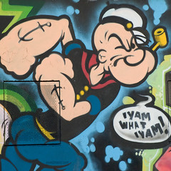 iyamwhatyam (ewaldmario) Tags: brunnenmarkt grafitty iamwhatiam iyamwhatiyam markt popeye wien österreich at yanwhatyam grafitti austria square ewaldmariocom colourful funny strange yamwhatyam art artificial cartoon door crop vienna spinat spinache sailorman
