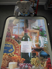 Booze'n'food - yum yum! (pefkosmad) Tags: bear stilllife food ted toy stuffed soft teddy wine fluffy poland hobby plush puzzle photograph leisure jigsaw complete pastime castorland 1500pieces tedricstudmuffin frenchflavours