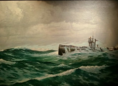 On Patrol 1914 - 1918. (ManOfYorkshire) Tags: patrol oil canvas painting submarine g13 hms northsea gosport hampshire museum hanging hung display ww1 world war 1 1914 1918 conditions challenging tough history geaorgebradshaw painter sea rough