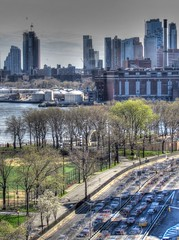 Downtown Brooklyn Skyline & FDR Drive (Sebastian Sinisterra Photography) Tags: road above park new york city nyc bridge trees cars up skyline brooklyn buildings river outside outdoors drive coast spring high downtown manhattan vibrant dr side sunny east williamsburg expressway far recent hdr fdr