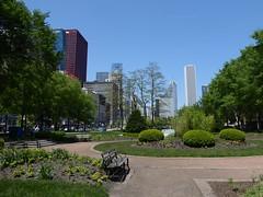 Chicago, Grant Park South (Mary Warren (6.8+ Million Views)) Tags: urban chicago skyline architecture buildings garden bench landscape cityscape skyscrapers grantpark