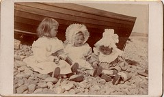 CdV of Three Young Children on a Pebbly Beach (EastMarple1) Tags: baby beach sunshine vintage children boat toddler child victorian pebbles bonnet flickrexplore