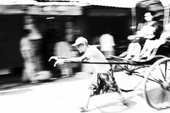 A Long Stride (anthonypond) Tags: bw india rickshaw panning kolkata calcutta 35mmsummilux leicam9
