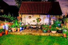 Night time container garden (rick.midgley123) Tags: garden pots plants flowers night hand held fuji xt1 doncaster outdoor