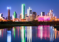 Dallas Blue (Sky Noir) Tags: city skyline cityscape texas colorful reflections night blue hour