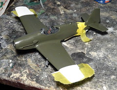 1:72 Saab J 23B; 'Vit Adam ('White A', s/n 2323), Swedish Air Force Upplands Flygflttilj 16, Air Staff Flight; Uppsala (Eastern Sweden); summer 1947 (Whif/Kit bashing) - WiP (dizzyfugu) Tags: saab 23 j23 jakt db605 benz piston fighter interceptor olive green gray swedish air force whif whatif fictional aviation f16 uppsland lulland flygflttilj 16 white anton vit staff flight combat training high visibility viz markings j21 modellbau kitbashing dizzyfugu p51 ki61