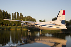 PH-NIV Fokker F27-500 Friendship Schiphol EHAM 24.06-17 (rjonsen) Tags: resting plinth fokker frindship withdrawn from use pond water reflection evening golden hour airplane aircraft plane