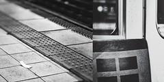 : Scenes at Nagoya Station (Jon-F, themachine) Tags: jonfu 2016 olympus omd em5markii em5ii  mirrorless mirrorlesscamera microfourthirds micro43 m43 mft ft     snapseed japan  nihon nippon   japn  japo xapn asia  asian fareast orient oriental aichi   chubu chuubu   nagoya  nagoyastation meieki   blackandwhite bw bnw monochrome monochromatic grayscale greyscale nocolor diptych multiplephotos twophotos 2photos train trains   platform  station stations trainstation