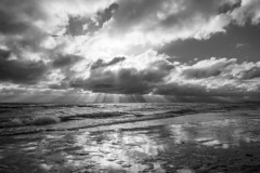 Rays of the sun shine through clouds (piropiro3) Tags: sea sky blackandwhite sun monochrome germany deutschland meer cloudy himmel balticsea monochrom sonne ostsee sonnenstrahlen raysofthesun bewölkt schwarzweis