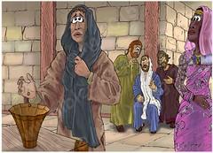 Mark 12 - The widows offering - Scene 02 - 2 small coins (Martin Young 42) Tags: money temple james matthew jerusalem jesus crowd rich offering levi widow marksgospel mark1242