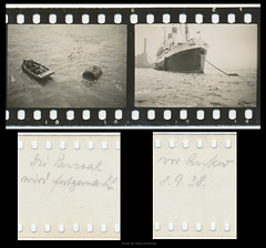 35mm Contact Print Rolls Trip to England (05) (Hans Kerensky) Tags: trip england film 35mm paper print found with kodak 1938 holes september photographs german mooring ms roll to contact monte sprocket anchored pascoal panatomic