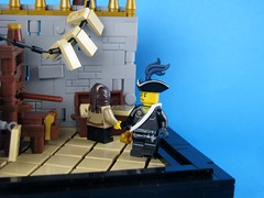 Quest for the Fountain of Youth - Part VII - The Printer's Shop (Robert4168/Garmadon) Tags: fountain shop stone wall youth paper tile grey for floor lego printer balcony chest gray tan first pirate printing second railing quest mate press technique printers pontelli eslandola brethrenofthebrickseas mylesbowditch