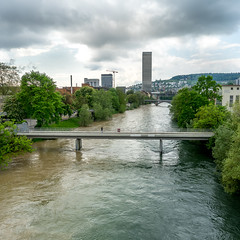 Two rivers and one tower (jaeschol) Tags: water river switzerland zrich limmat kreis5 kantonzrich stadtzrich swissmill