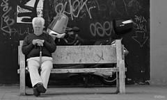 Donde est mi mundo? (Franco DAlbao) Tags: city portrait bw bench lumix solitude retrato candid banco ciudad bn soledad moderntimes outofplace oldage vejez robado hostility hostilidad desplazado tiemposmodernos dalbao francodalbao