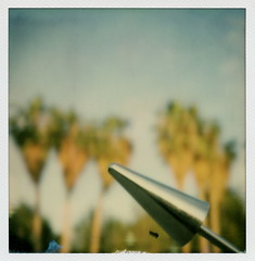 Bokeh Palms (tobysx70) Tags: california ca toby 2 test color tree film metal project palms out polaroid sx70 photography for inn focus riverside bokeh steel palm sundial tip cameras type mission instant arrow 20 hancock avenue gen pioneer generation conical gnomon impossible oof the gen2 050316 0315 of polawalk impossaroid doslagospolawalk