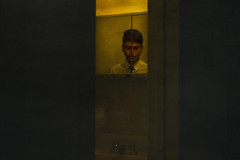 sp|it (VipinView) Tags: art yellow shirt canon dark bathroom rebel mirror moody fine tie concept split t3i