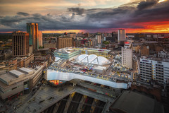 End of Days (Vemsteroo) Tags: city sunset urban rain architecture clouds canon birmingham cityscape outdoor dusk foreboding exploring central perspective dramatic grand stormy busy trainstation 5d rotunda westmidlands cloudscape brum mkiii 1635mm ndgrad leefilters