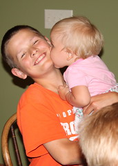 Kisses for the birthday boy! (The Kingery Family) Tags: birthday family pink music orange cute kiss singing baseball bluegrass uncle neice harmony kingery