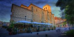 (289/16) Amanece en Sacedn (Pablo Arias) Tags: pabloarias photoshop photomatix nx2 cielo nubes texturas arquitectura iglesia sombrillas sacedn comunidad de castilla la mancha
