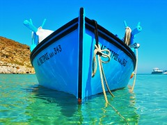 St. Peter  ~ .  (M Lamprinos) Tags: greece dodecanese island aegean boat fishingboat sea blue emerald water coast culture traditional pserimos kalymnos   summer prespective outdoor wooden bay anchored