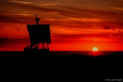 An evening at sea (Anneke Jager) Tags: annekejager canon doubleexposure sunset zonsondergang zee lucht zon