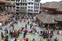 Colourful vegetales and street vendors at Durbar Square