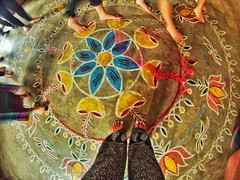 The paintings all over the floors in India are beautiful. (FreeSpirit_MN) Tags: flowers blue red india white green history feet church students colors beautiful yellow design colorful toes paint bright vibrant painted faith bangalore cement chapel barefoot studying studyabroad beliefs floorpainting bangaloreindia gobarefoot barefoo bensontown