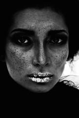 (Insomniac Freak) Tags: portrait bw black girl beauty fashion fur gold noir freckles brunette smokyeyes goldenlips nastyashort