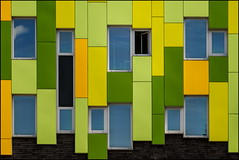 The open window (Maerten Prins) Tags: school windows orange holland green window netherlands lines yellow wall square utrecht open squares nederland explored nieuwwelgelegen