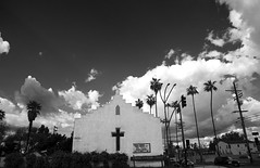 Van Nuys Churches (MonicaJane_) Tags: california geometric church architecture buildings cloudy shapes stormy palmtrees vannuys blueskys thevalley