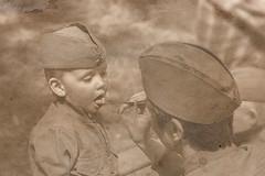 1945 - 1 (yuriye) Tags: boy red woman history hat army war uniform child mother may 9 spoon patriotic victory retro soviet ww2 second historical sa 1945 1941 ussr армия победа мая история ссср солдат реконструкция yuriye советская