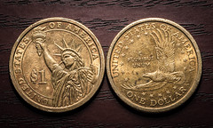 One Dollar Coins (ruimc77) Tags: usa money macro ex gold one 1 golden us coin nikon united sigma 11 os presidential dollar states reverse currency dinero usd dg sacagawea dinheiro 105mm hsm d810