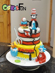 Cat in the Hat First Birthday (bsheridan1959) Tags: cake goldfish stripes fork characters firstbirthday edible catinthehat fondant tiered greenegg childrenscake kidscake 2tiers fondantfigures nothing1 kitebooks