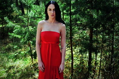 Youth (saralinnpersson) Tags: trees red portrait nature girl forest outdoors woods dress sweden outdoor young teen prom