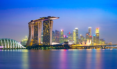 _MG_5431_web - Singapore Marina Bay skyline (AlexDROP) Tags: city travel light urban colour water skyline architecture night singapore postcard famous best bluehour scape picturesque iconic mustsee 2015 canon6d ef16354lis
