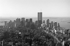 New York 1999 (Ron van Zeeland) Tags: city blackandwhite usa newyork building monochrome skyline architecture skyscraper buildings skyscrapers outdoor manhattan 1999 twintowers