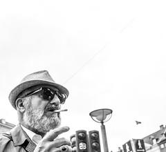 Personality (Jan Jespersen) Tags: street city urban blackandwhite bw man hat copenhagen denmark smoke citylife streetphotography smoking streetphoto kbenhavn urbanscenes urbanlife urbanscene platea manwithahat plateastreetphotocollective