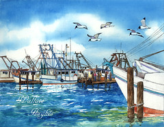 Fulton Fleet (artwal9) Tags: watercolor shrimpboats