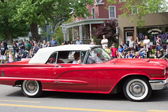 Red Thunderbird Convertible, Memorial Day Parade, 2015. Dexter, Michigan. (marylea) Tags: red classic car community classiccar michigan parade dexter memorialday 2015 may25 memorialdayparade washtenawcounty