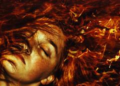 Hephaestus (Allison Coles) Tags: red portrait orange selfportrait face hair fire flames greekmythology surrealphotography emotivephotography allisoncolesphotography