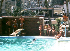 Found Photo - Hotel Pool (Mark 2400) Tags: new pool marriott found hotel 1974 photo orleans august bikini speedo