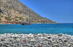 DSC_0022_3_4_tonemapped (gkapne) Tags: sea wild mountain beach nikon ship pebble plaka crete giorgos spinalonga elounda d5100 gkapne kritsotakis