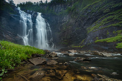 skjervsfossen (huddart_martin) Tags: longexposure trees mountains nature water norway river landscape norge waterfall voss granvin sonya99