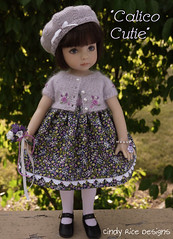 """Calico Cutie"" made for Dianna Effner's Little Darling dolls. (Cindy Rice Designs) Tags: hat sweater doll dress embroidery knit beret cardigan littledarlings effner"