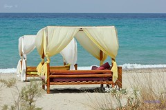 Summer in Greece ! Live Your Dream At The Beach (George @) Tags: blue sea bask sunbeds  deck chairs tourists greece greek welcome holidays travel vacation  paradise  beach vip curtains  summer island  ekdromes  sunbathing  george papaki eyes