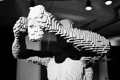 London / Brick Lane / Art of the Brick / Mask (Deep.Blue.Sea) Tags: uk greatbritain blackandwhite bw sculpture white black brick london art monochrome lego unitedkingdom exhibition fujifilm bricklane lightanddark eastlondon nathansawaya artinbw artofthebrick