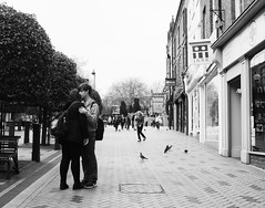 LOving with a loose hand (matthewheptinstall) Tags: street city uk england urban town couple streetphotography younglove cuddle wakefield moment embrace hold westyorkshire