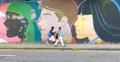 Multiculturalism (Alex L'aventurier,) Tags: world street city people urban colour men art colors wall canon painting walking graffiti movement costarica couleurs candid sanjose rue mur cultures personnes ville cultural humans mouvement urbain murale marcher
